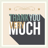 Thank you greeting card. Thank you card, with font, typography style Royalty Free Stock Photography