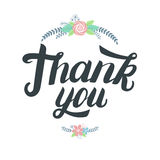 Thank you greeting card. Hand written lettering with cute floral elements. Stock Image