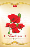 Thank you greeting card with poppies Stock Images
