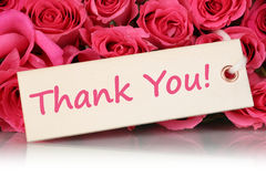 Thank You on greeting card with roses flowers on mother's or Val Royalty Free Stock Image