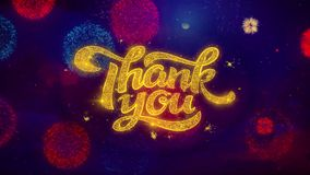Thank You Greeting Text Sparkle Particles on Colored Fireworks. Thank You Greeting Text with Particles and Sparks Colored Bokeh Fireworks Display 4K stock video footage