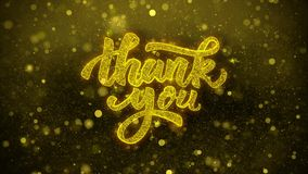 Thank You Wishes Greetings card, Invitation, Celebration Firework 1. Thank You Greetings card Abstract Blinking Golden Sparkles Glitter Firework Particle Looped stock video footage