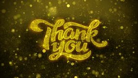 Thank You Wishes Greetings card, Invitation, Celebration Firework. Thank You Greetings card Abstract Blinking Golden Sparkles Glitter Firework Particle Looped stock footage