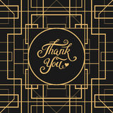 Thank You hand drawn lettering with Art Deco frame Royalty Free Stock Photos
