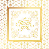 Thank You hand drawn lettering with Art Deco white frame Stock Images