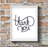 Thank you hand-drawn lettering on brick wall Royalty Free Stock Photo
