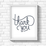 Thank you hand-drawn lettering on brick wall.  vector illustration
