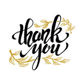 Thank you. Hand drawn lettering isolated on white background. Thanksgiving Day. Design element for poster, greeting card, flyer. Vector illustration stock illustration