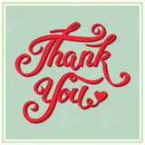 Thank You hand drawn lettering with shadow for vintage greeting Stock Photo
