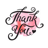 Thank You hand drawn lettering for vintage greeting card. Royalty Free Stock Photos