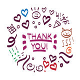 Thank You hand drawn vector scribble icon symbol Royalty Free Stock Image