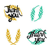 Thank you hand lettered signs with olive branch Stock Photos