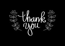 Thank you hand lettering. With black background Royalty Free Stock Images