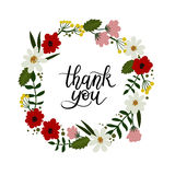 Thank You Hand Lettering Card. Modern Calligraphy. Floral Frame. Thank You Hand Lettering Card. Modern Calligraphy. Vector Illustration. Floral Frame stock illustration