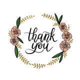 Thank You Hand Lettering Card. Modern Calligraphy. Thank You Hand Lettering Card with Floral Wreath. Modern Calligraphy. Vector Illustration. Isolated on White stock illustration