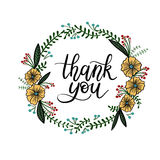 Thank You Hand Lettering Card. Modern Calligraphy. Thank You Hand Lettering Card with Floral Wreath. Modern Calligraphy. Vector Illustration. Isolated on White royalty free illustration