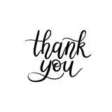 Thank You Hand Lettering Card. Modern Calligraphy. Vector Illustration. Isolated on White Background royalty free illustration