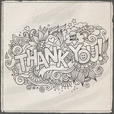 Thank You hand lettering and doodles elements Stock Photos