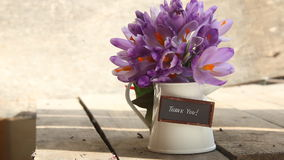 Thank You Hand lettering. Thank You- hand lettering and flowers on the table stock video