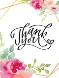Thank you - hand lettering inscription to holiday design, black and white ink calligraphy. Illustration Royalty Free Illustration