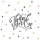Thank you - hand lettering inscription to holiday design, black and white ink calligraphy. Vector illustration stock illustration