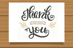 Thank you. Hand lettering sign for a card. Template thanksgiving cards, calligraphy. Royalty Free Stock Images