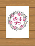 Thank you. Hand lettering sign for a card. Template thanksgiving cards, calligraphy. Stock Photos
