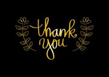 Thank you hand lettering. With black background Royalty Free Stock Photography