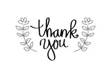 Thank you hand lettering. With black background Stock Image