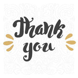 Thank you hand lettering vector illustration Stock Images