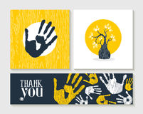 Thank you hand print card set for community help