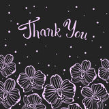 Thank you hand written text floral background with orchid Royalty Free Stock Photography