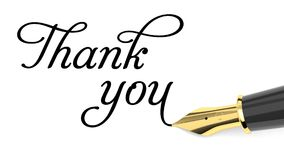 Thank you card. Thank you handwritten with fountain pen stock illustration
