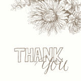 Thank You handwritten inscription with floral back. Thank You handwritten inscription surrounded by flowers . Hand drawn lettering. Thank You calligraphy. Thank Royalty Free Stock Images