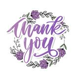 Thank You handwritten inscription. Hand drawn lettering. Thank You calligraphy. Thank you card. Vector illustration. Slogan. Thank You handwritten inscription stock photography