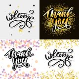 Thank You handwritten inscription. Hand drawn lettering. Thank You calligraphy. Thank you card. Vector illustration. Slogan. Thank You handwritten inscription stock images
