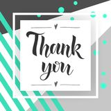 Thank You handwritten inscription. Hand drawn lettering. Thank You calligraphy. Thank you card. stylish fashion Vector. Illustration Royalty Free Stock Photos