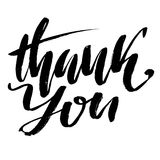 Thank You handwritten inscription. Hand drawn lettering. Thank you card. Vector illustration. Royalty Free Stock Photo