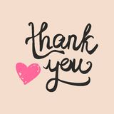 Thank you handwritten inscription on pastel vector card Royalty Free Stock Images
