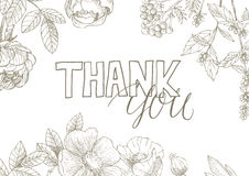 Thank You handwritten inscription. Thank You handwritten inscription surrounded by flowers . Hand drawn lettering. Thank You calligraphy. Thank you card. Vector Stock Photos