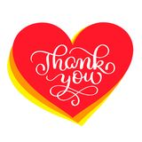Thank You handwritten text in a red heart. Hand drawn lettering. Thank You calligraphy for card. Vector illustration Stock Images