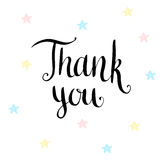 Thank you. Handwritten vector card Royalty Free Stock Photography