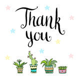 Thank you. Handwritten vector card with flowers in Stock Photo