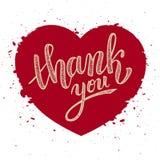 Thank you handwritten vector illustration, brush pen lettering Stock Image