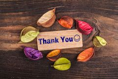 Thank you with happy face stock images