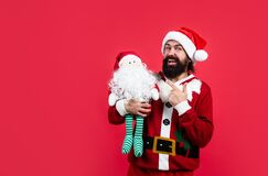 Thank you. happy new year. merry christmas. cheerful bearded man in santa claus costume. hipster celebrate xmas party