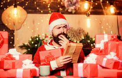 Thank you. happy new year. Xmas gifts. christmas gift delivery. winter shopping sales. Writing wish list. bearded man