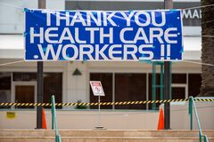 Thank you Health Care Workers banner Downtown Fort Lauderdale FL