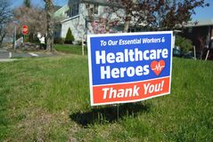 Thank You Healthcare Heroes And Essential Workers, COVID-19, Coronavirus, Rutherford, NJ, USA