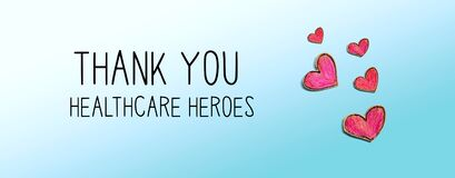 Thank You Healthcare Heroes message with red heart drawings